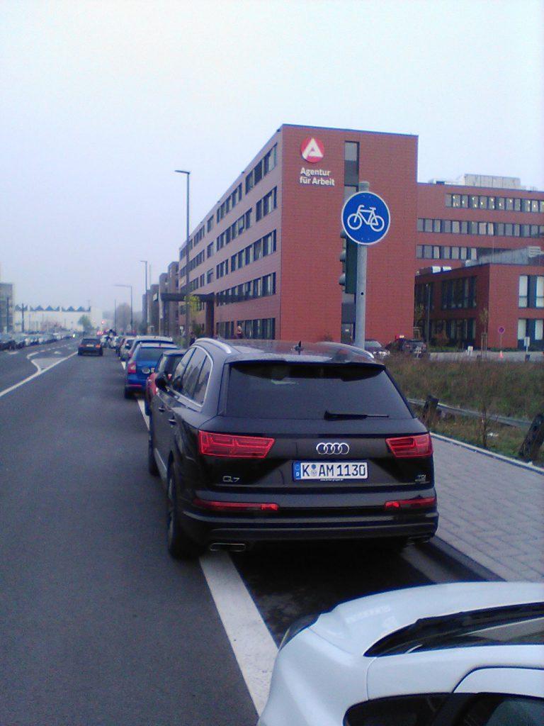 K-AM 1130 kann sich kein ÖPNV-Ticket leisten um muss auf dem Radweg parken...