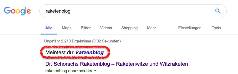 """Gugel fragt: """"Meintest Du >Katzenblog<?"""""""