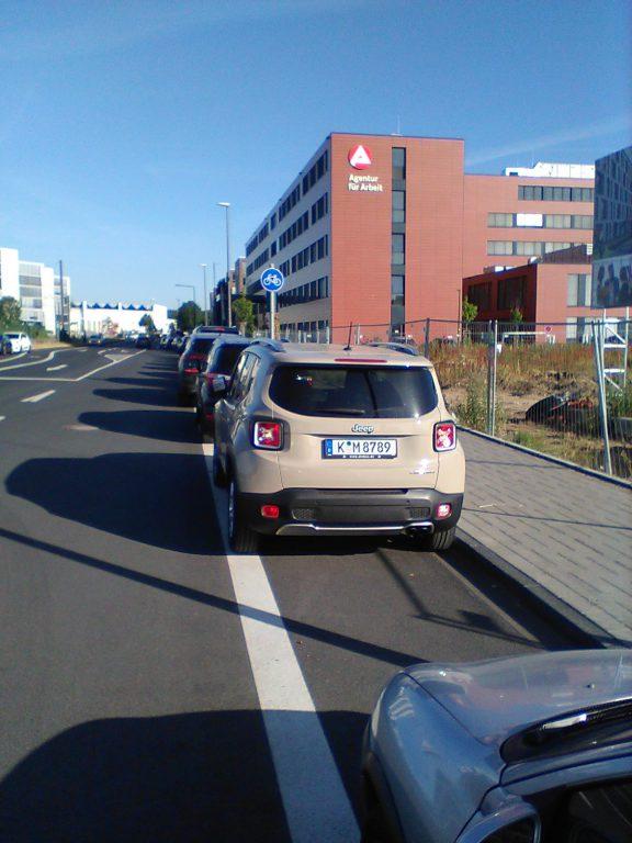 K-M 8789 und andere parken breit und bräsig auf meinem Radweg